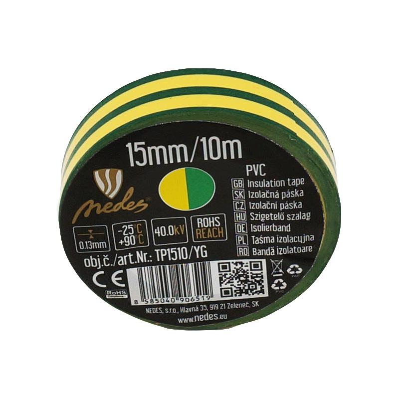 Insulation tape 15mm/10m yellow/green -TP1510/YG