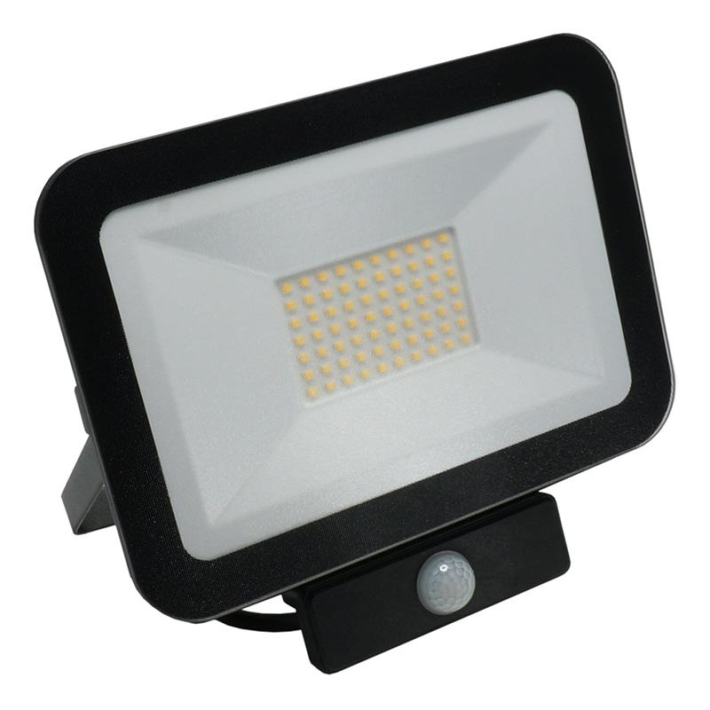 LED HQ floodlight 50W+PIR IP65 senzor/4000K/BK/PS - LF2024S