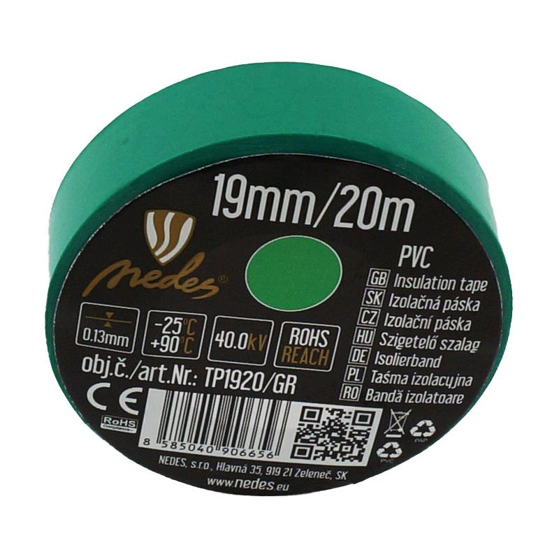 Insulation tape 19mm/20m green -TP1920/GR