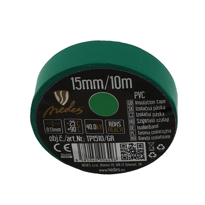 Insulation tape 15mm/10m green -TP1510/GR