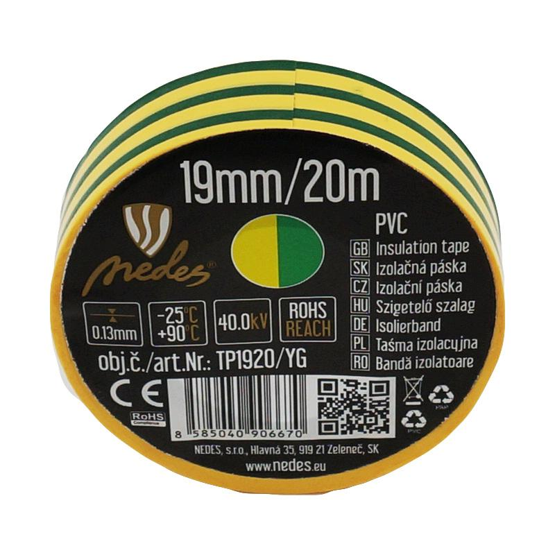 Insulation tape 19mm/20m yellow/green -TP1920/YG