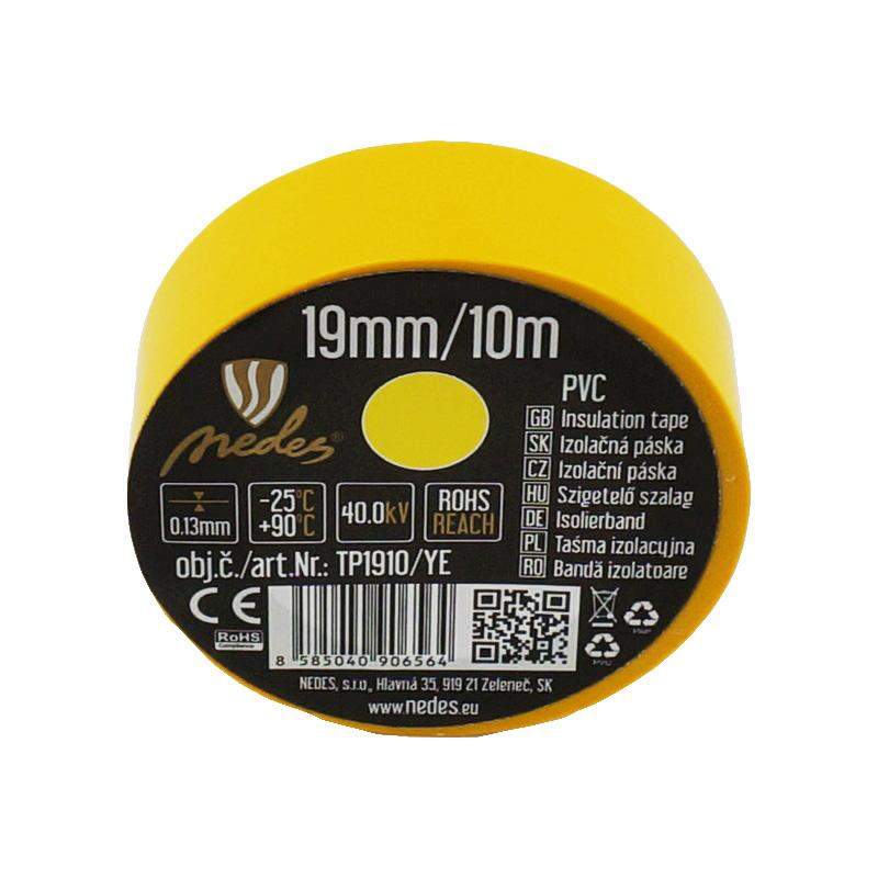 Insulation tape 19mm/10m yellow -TP1910/YE
