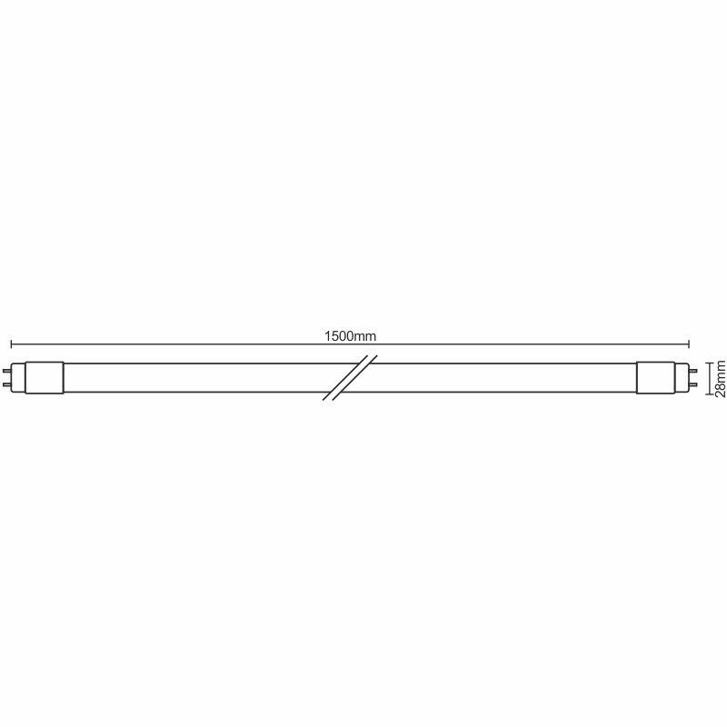 LED tube 22W - T8/1500mm/4100K, 25pcs - TLS223/25