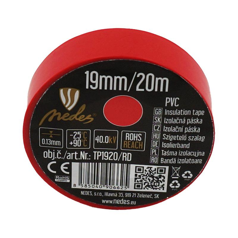 Insulation tape 19mm/20m red -TP1920/RD