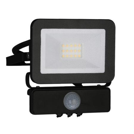 LED HQ floodlight 10W+PIR IP65 senzor/4000K/BK/PS - LF2021S